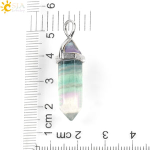 Necklace Pendant Natural Gem Stone Quartz Bullet Hexagonal Point Pendulum Column Reiki Healing Chakra