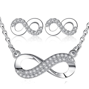 Unique Design Women Girls Wedding Bridesmaid Infinity Jewelry Set Crystal 8 Shape Earrings&Necklace Pendant for Women