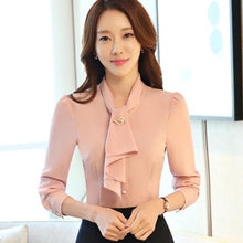 Load image into Gallery viewer, long sleeve women slim shirt white pink solid color elegant ruffles chiffon blouse office ladies formal plus size tops