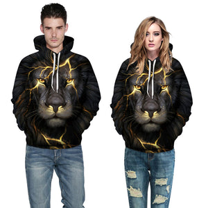 New Fashion Men/Women 3d Sweatshirts Print Golden Lightning Lion Hooded Hoodies Thin Hoody Tracksuits Tops