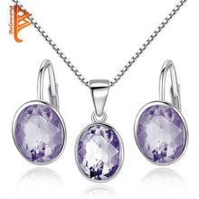 Load image into Gallery viewer, Bridal Wedding Jewelry Set for Women Earrings Necklace 925 Silver Jewelry Sets with Blue Crystal Stones Accessories