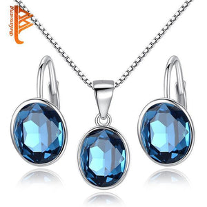 Bridal Wedding Jewelry Set for Women Earrings Necklace 925 Silver Jewelry Sets with Blue Crystal Stones Accessories