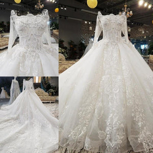 luxury sexy lace up 3D flowers long tail three quarter white wedding dress