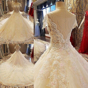 Gorgeous champage bridal gown lace short sleeves ball gown lace wedding dress vestidos de noivas real photos