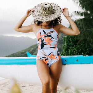 Sexy One Piece Swimsuit Women Swimwear Print Bodysuit Crochet Bandage Cut Out Beach Wear Bathing Suit Monokini Swimsuit XL
