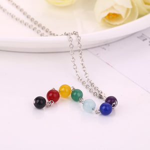 Silver Color Seven Color Stone Chakra Necklaces Pendants Yoga Reiki Healing Balancing 7 Chakra energy Necklace