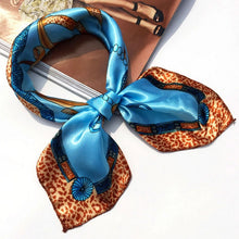 Load image into Gallery viewer, Fashion 19Styles Women Girl Elegant Square Printing Korean style Hotel Waiter Flight Attendants Business Imitate Silk Scarf Gift - moonaro
