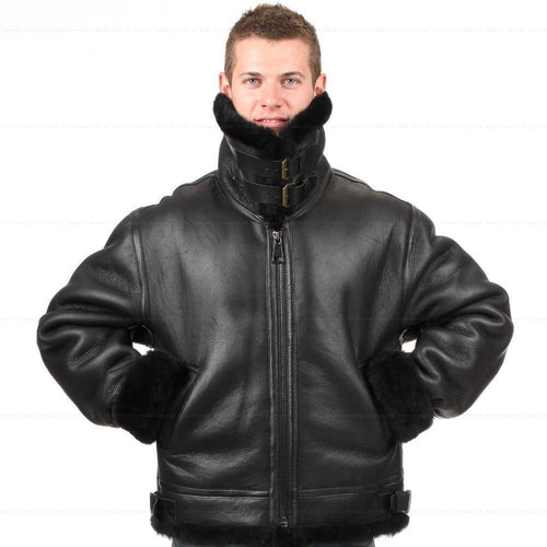 B3 shearling Leather jacket  Bomber Fur military US Force The most warm Polar Coat For Men
