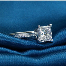 Load image into Gallery viewer, Sterling 925 Silver Rings For Women Jewelry Simple Design Square Bridal Wedding Engagement Ring