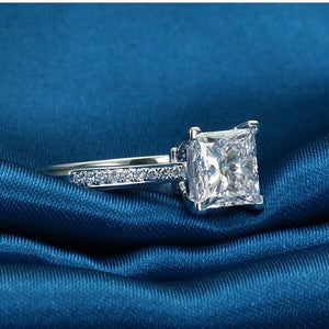 Sterling 925 Silver Rings For Women Jewelry Simple Design Square Bridal Wedding Engagement Ring