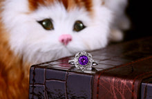 Load image into Gallery viewer, Jewelry 1.04ct Amethyst 14kt Gold 0.17ct Natural Diamond Engagement Ring