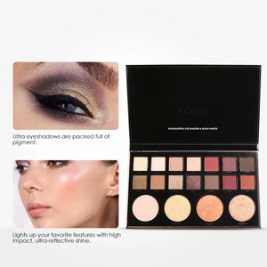 Highly Pigmented Glitter Eye Shadow Flash Shimmer Eyeshadow with Bush Highlighter Palette Face Makeup Tools
