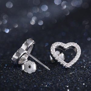 925 Sterling Silver Crystal  Heart To Heart Pendant Necklace Stud Earrings Bridal Jewelry Sets For Wedding &Engagement - moonaro