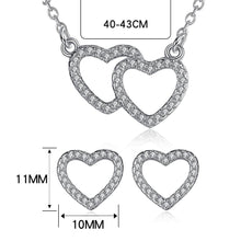 Load image into Gallery viewer, 925 Sterling Silver Crystal  Heart To Heart Pendant Necklace Stud Earrings Bridal Jewelry Sets For Wedding &Engagement - moonaro