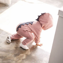Load image into Gallery viewer, Baby Boy Girl 3D Dinosaur Costume Solid pink gray Rompers warm spring autumn cotton romper Playsuit Clothes - moonaro