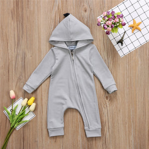 Baby Boy Girl 3D Dinosaur Costume Solid pink gray Rompers warm spring autumn cotton romper Playsuit Clothes - moonaro