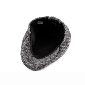Autumn Winter Men Cap Hat Thick Woolen Beret Cap Solid Black Grey Warm Advance  Caps - moonaro