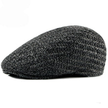 Load image into Gallery viewer, Autumn Winter Men Cap Hat Thick Woolen Beret Cap Solid Black Grey Warm Advance  Caps - moonaro