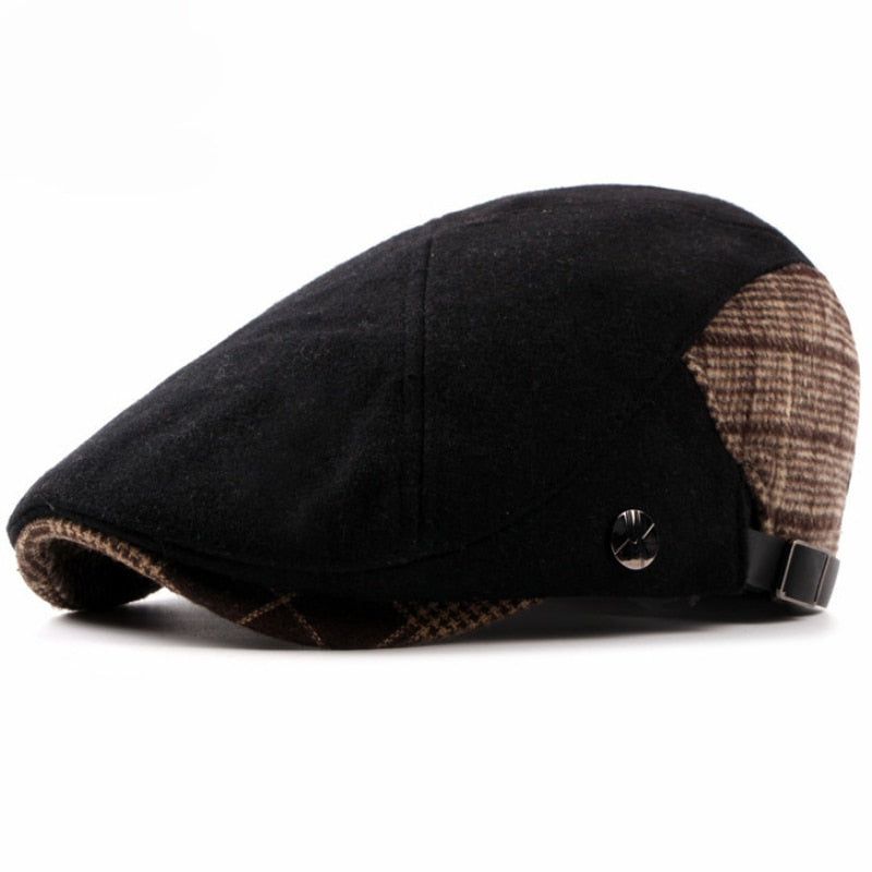 Autumn Winter Hat Beret Warm Wool Felt Cabbie Driver Flat Ivy Cap Black Brown Patchwork Men Beret Cap - moonaro
