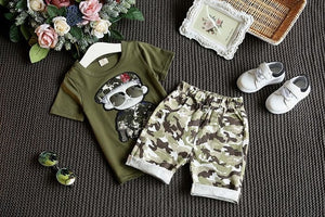 boys clothing set short sleeve T-shirt+shorts 2-piece set boys clothes soldier camouflage casual kids clothes - moonaro