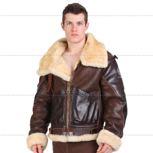 B3 shearling Leather jacket  Bomber Fur military US Force The most warm And Luxury Top Quality Polar Coat For Men