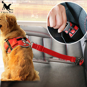 Dog car seat belt safety protector travel pets accessories dog leash Collar breakaway solid car harness - moonaro