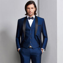 Load image into Gallery viewer, Men Suit  Wedding Suits For Men Shawl Collar 3 Pieces Slim Fit Burgundy Suit Men's Royal Blue Tuxedo Jacket