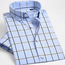 Load image into Gallery viewer, Men's Short Sleeve Button-down Plaid Dress Shirts Sky-blue Male Smart Casual Slim-fit Comfort Soft Modal&Cotton Thin Tops Shirt
