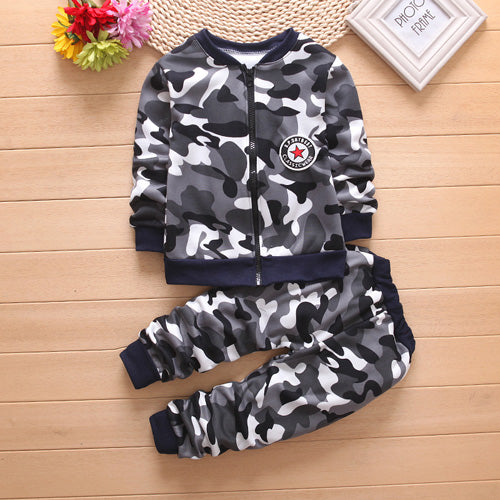Boys Winter Warm Woolen Outerwear Jack Coat Pants Girls Clothing Set Baby Kids Hoody Trousers Camouflage Tracksuit - moonaro