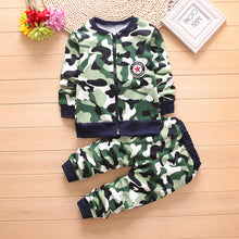 Load image into Gallery viewer, Boys Winter Warm Woolen Outerwear Jack Coat Pants Girls Clothing Set Baby Kids Hoody Trousers Camouflage Tracksuit - moonaro
