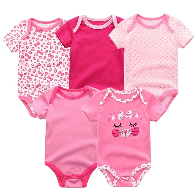5PCS/LOT Unisex Top Quality Baby Rompers Short Sleeve Cottom O-Neck 0-12M Novel Newborn Boys&Girls Roupas de bebe Baby Clothes - moonaro