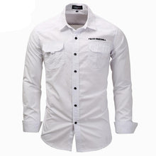 Load image into Gallery viewer, men long sleeve shirts fashion casual cotton shirt plus size 3XL button work white shirt