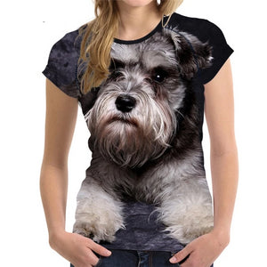Customized 3D Dog Schnauzer Face Printed Women T Shirt Fashion Bodybuilding Tee Shirts Brand Designer Short Sleeve Tops Clothes