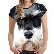 Load image into Gallery viewer, Customized 3D Dog Schnauzer Face Printed Women T Shirt Fashion Bodybuilding Tee Shirts Brand Designer Short Sleeve Tops Clothes