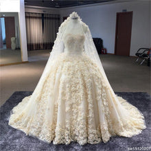 Load image into Gallery viewer, Custom Made Scoop Neck Sleeveless Crystal Dresses Off White  Princess Wedding Dresses - moonaro
