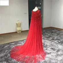 Load image into Gallery viewer, New Arrival Sexy A-Line Beaded Long Evening Dress With Cloak Evening Party Dress Sleeveless Zipper vestido longo