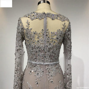 Prom Dress Real Pictures Evening Gown Long Sleeves Customized Lace Beading Dresses for Party evening dress