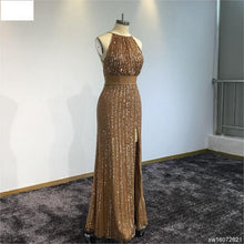 Load image into Gallery viewer, Surmount Customized Evening Dress Backless Sexy Beading Slit Dress Crystal Formal Party Dress
