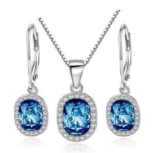 Luxury Real 925 Sterling Silver Ocean Blue Austrian Crystal Drop Earrings and Pendant Necklace Wedding Jewelry Sets