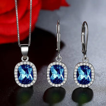 Load image into Gallery viewer, Luxury Real 925 Sterling Silver Ocean Blue Austrian Crystal Drop Earrings and Pendant Necklace Wedding Jewelry Sets