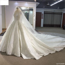 Load image into Gallery viewer, Surmount Custom Made Royal Train Wedding Dresses Ball Gown Long Sleeves robe de soiree Long robe de mariage Wedding dresses
