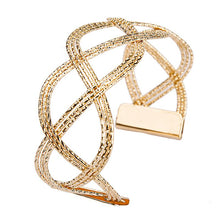 Load image into Gallery viewer, Luxury Fashion Gold Color Women's Punk Style Charm Hollow Cuff Bangle Bracelet Women Jewelry Party