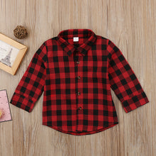 Load image into Gallery viewer, Kids Boy  Long Sleeve Back Letter Print Check Blusa T-shirt Tee Tops Clothes 2-7Y