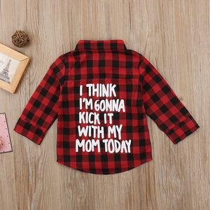 Kids Boy  Long Sleeve Back Letter Print Check Blusa T-shirt Tee Tops Clothes 2-7Y