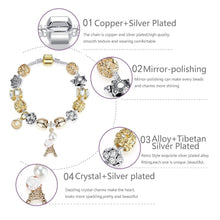 Load image into Gallery viewer, Gold-color Bell Beads Bracelets Crystal Eiffel Tower Charm Bracelet