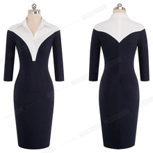 Load image into Gallery viewer, Formal One-piece Work Business Office Lady Dress Casual Colorblock Turn-down Collar Women Sheath Slim Bodycon Pencil Dress
