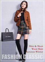 Load image into Gallery viewer, S-3XL New Women's Woolen Blends Skirt Winter Spring Autumn Fashion Elegant Plaid Thick Slim Short Skirt Girl Female Cotton