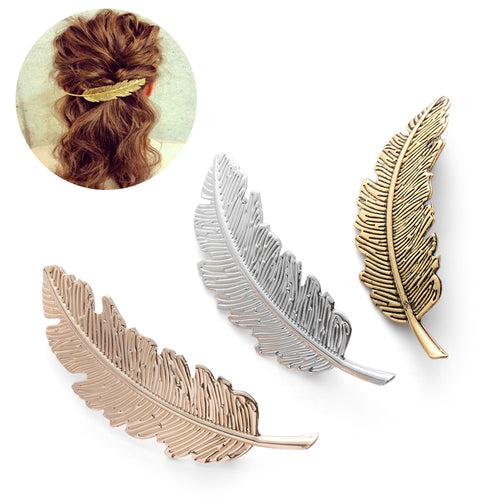1PC Christmas Gifts Hair Accessories Hair Ornament Party Decoration Women Fashion Leaf Feather Hair Clip Hairpin - moonaro