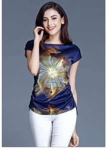 Chiffon Blouses Summer Casual Tops Short Sleeve Fashion Tops Shirts