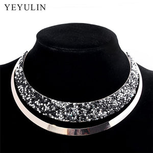 Luxury Full Crystal Choker Necklace Exaggerated  Maxi Statement Choker Collar Necklaces Bijoux Jewelry For Women